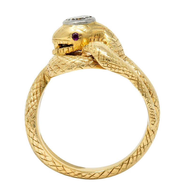 Larter & Sons Diamond Ruby 14 Karat Two-Tone Gold Snake Ring For Sale 2