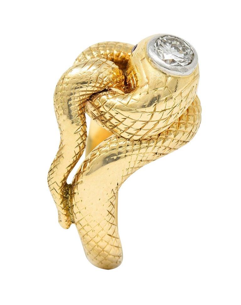Larter & Sons Diamond Ruby 14 Karat Two-Tone Gold Snake Ring For Sale 3