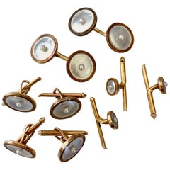 Larter & Sons Mother of Pearl Tuxedo Stud Set, Cufflinks and Vest Studs 14k Gold