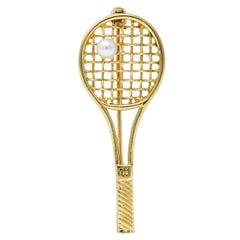Larter & Sons Pearl 14 Karat Gold Wilson Tennis Racket Brooch
