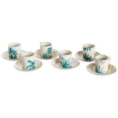 Las Palmas, Coffee Set with Six Contemporary Porcelains with Decorative Design