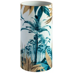 Las Palmas, Contemporary Porcelain Vase with Decorative Design by Vito Nesta