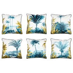 Las Palmas, Contemporary Velvet Printed Pillow by Vito Nesta