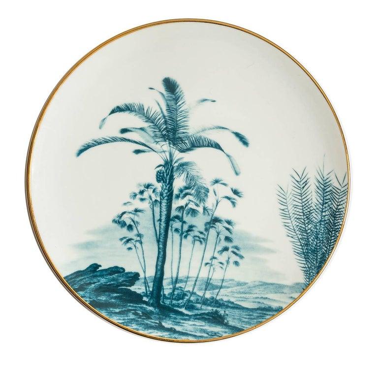 Italian Las Palmas Set of Six Blue Plates For Sale