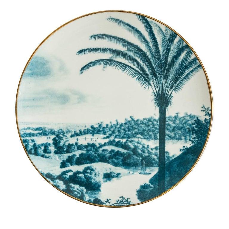 Porcelain Las Palmas Set of Six Blue Plates For Sale