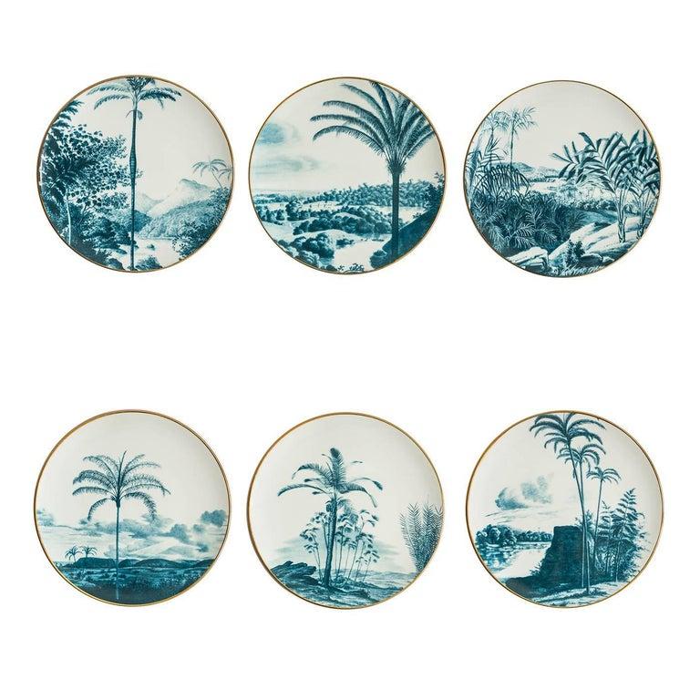 Las Palmas Set of Six Blue Plates