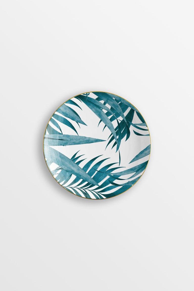 Italian Las Palmas, Six Contemporary Porcelain Dinner Plates with Decorative Design For Sale