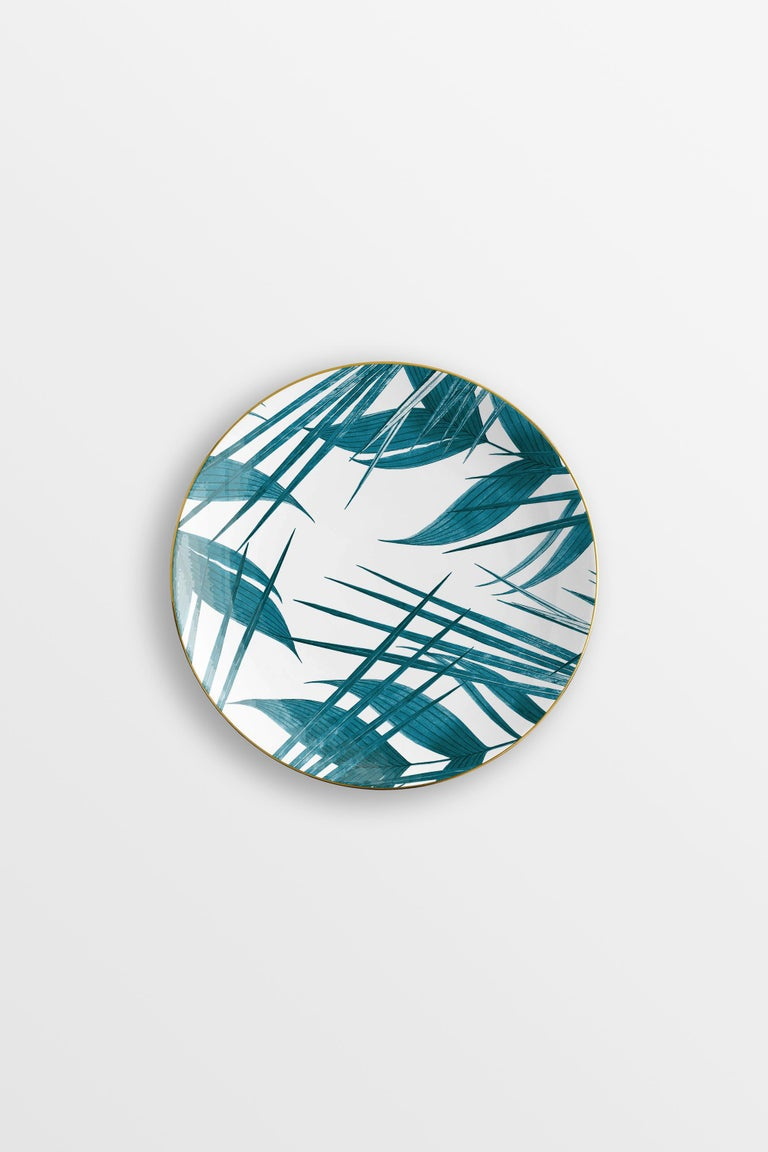 Las Palmas, Six Contemporary Porcelain Dinner Plates with Decorative Design For Sale 1