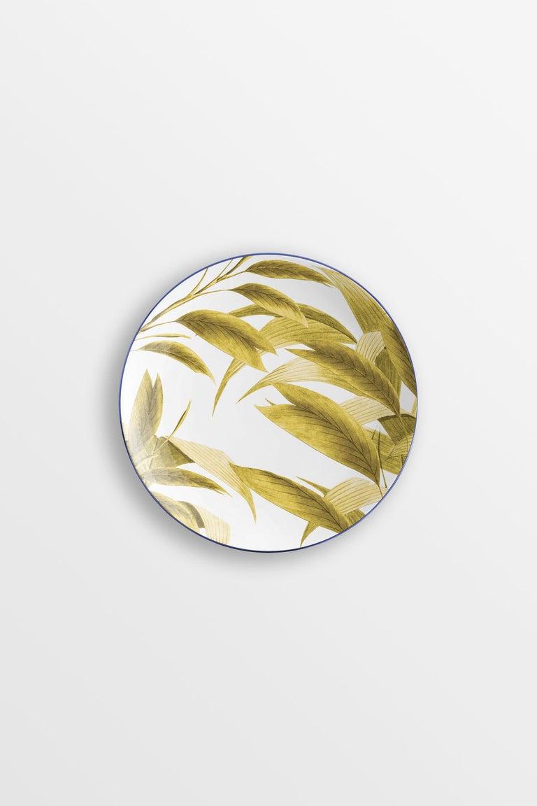 Las Palmas, Six Contemporary Porcelain Dinner Plates with Decorative Design For Sale 2