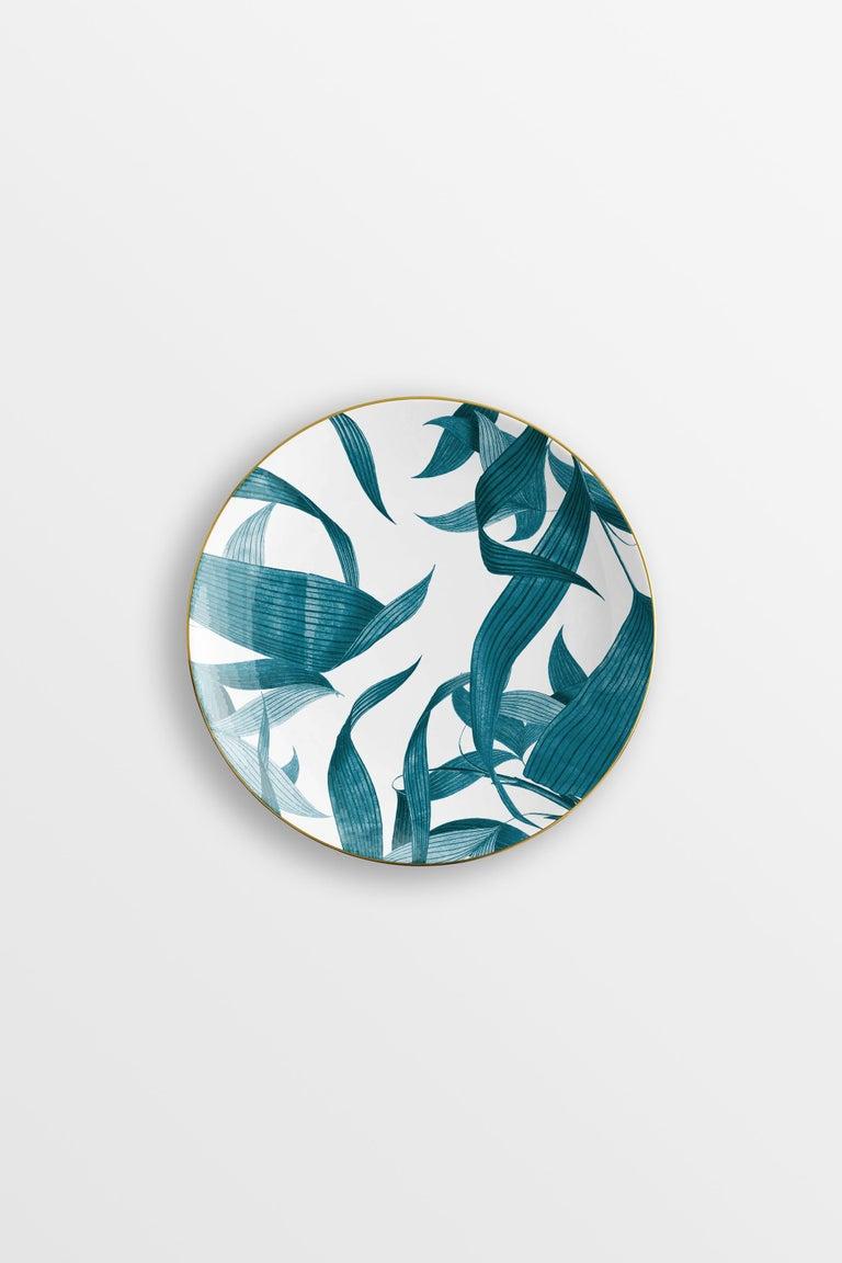 Las Palmas, Six Contemporary Porcelain Dinner Plates with Decorative Design For Sale 3