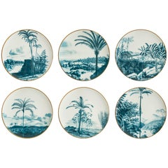 Las Palmas, Six Contemporary Porcelain Dinner Plates with Decorative Design