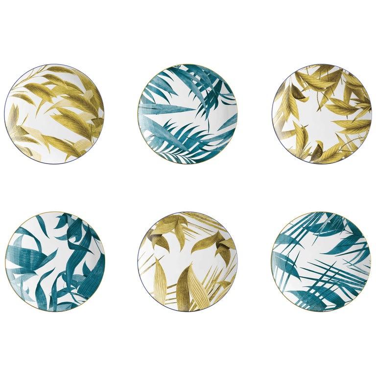Las Palmas, Six Contemporary Porcelain Dinner Plates with Decorative Design For Sale