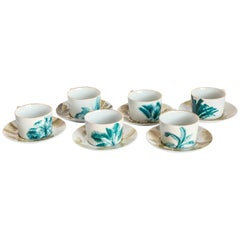 Las Palmas, Tea Set with Six Contemporary Porcelains with Decorative Design