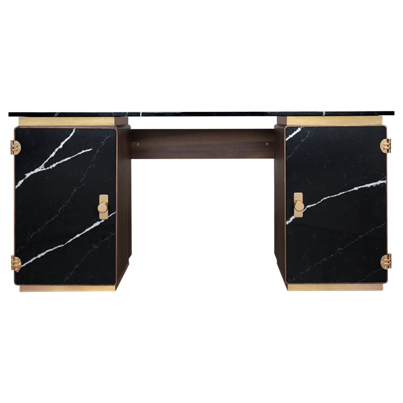 Lasdun Desk in Wood and Nero Marquina Marble