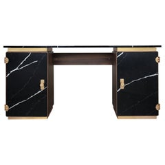 Lasdun Desk in Wood and Nero Marquina Marble