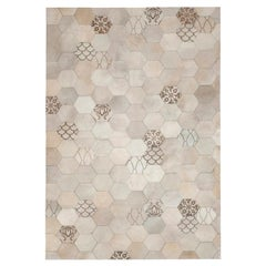 Laser Burn patterned motif Atomo Gray and Cream Cowhide Area Floor Rug Large