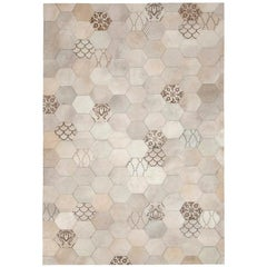 Laser Burn Patterned Motif Atomo Gray and Cream Cowhide Area Floor Rug X-Large