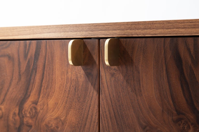 Laska Credenza, Figured Walnut and Brass, Three Doors, Customizable In New Condition For Sale In Louisville, KY