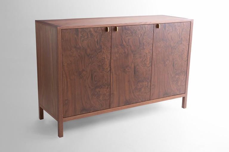 Mid-Century Modern Laska Credenza, Figured Walnut and Brass, Three Doors, Customizable For Sale