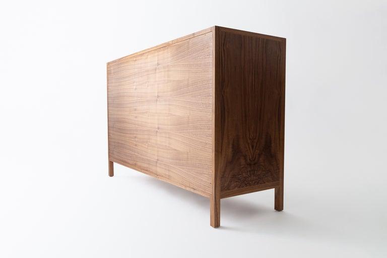 Contemporary Laska Credenza, Figured Walnut and Brass, Three Doors, Customizable For Sale