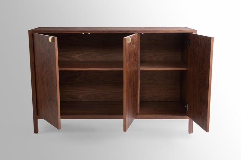Veneer Laska Credenza, Figured Walnut and Brass, Three Doors, Customizable For Sale