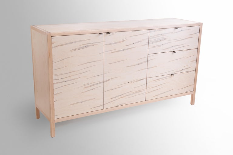 Mid-Century Modern Laska Credenza in Ambrosia Maple, Three Drawers, Two Doors, Customizable For Sale