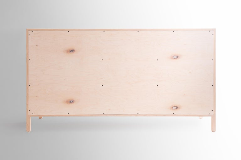 Contemporary Laska Credenza in Ambrosia Maple, Three Drawers, Two Doors, Customizable For Sale