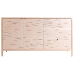 Laska Credenza in Ambrosia Maple, Three Drawers, Two Doors, Show Sample