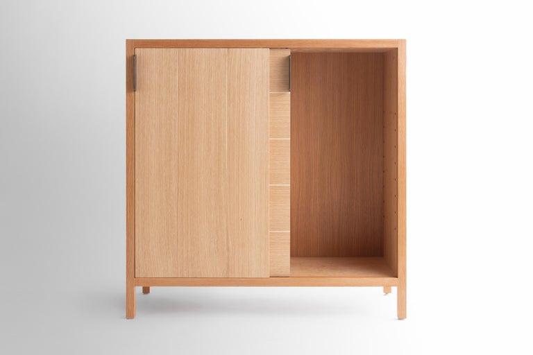 Mid-Century Modern Laska Credenza in Quarter-Sawn White Oak, Sliding Doors, Customizable For Sale