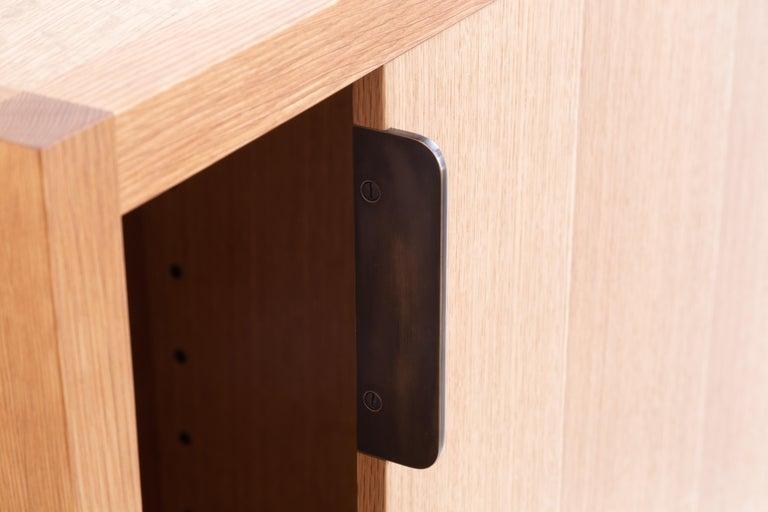 American Laska Credenza in Quarter-Sawn White Oak, Sliding Doors, Customizable For Sale