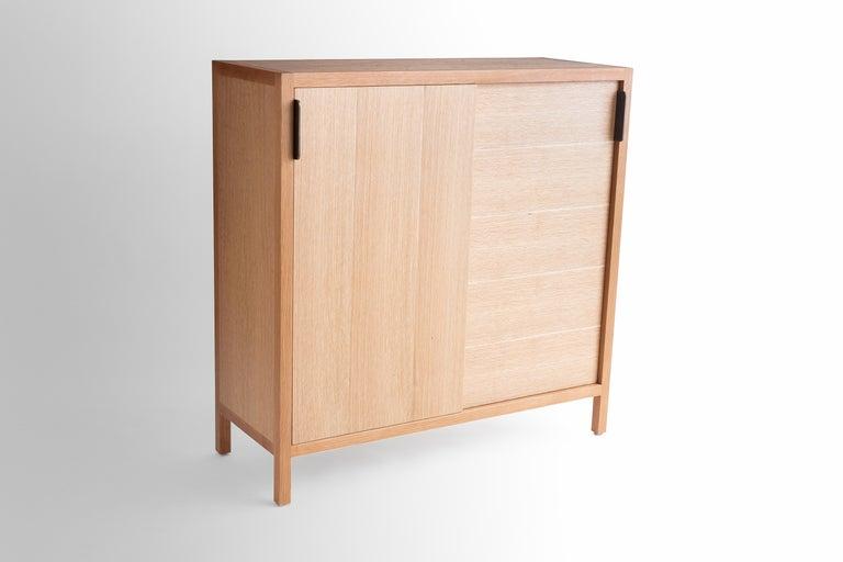 Ebonized Laska Credenza in Quarter-Sawn White Oak, Sliding Doors, Customizable For Sale