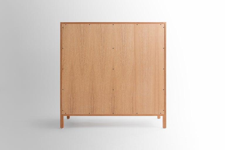 Contemporary Laska Credenza in Quarter-Sawn White Oak, Sliding Doors, Customizable For Sale