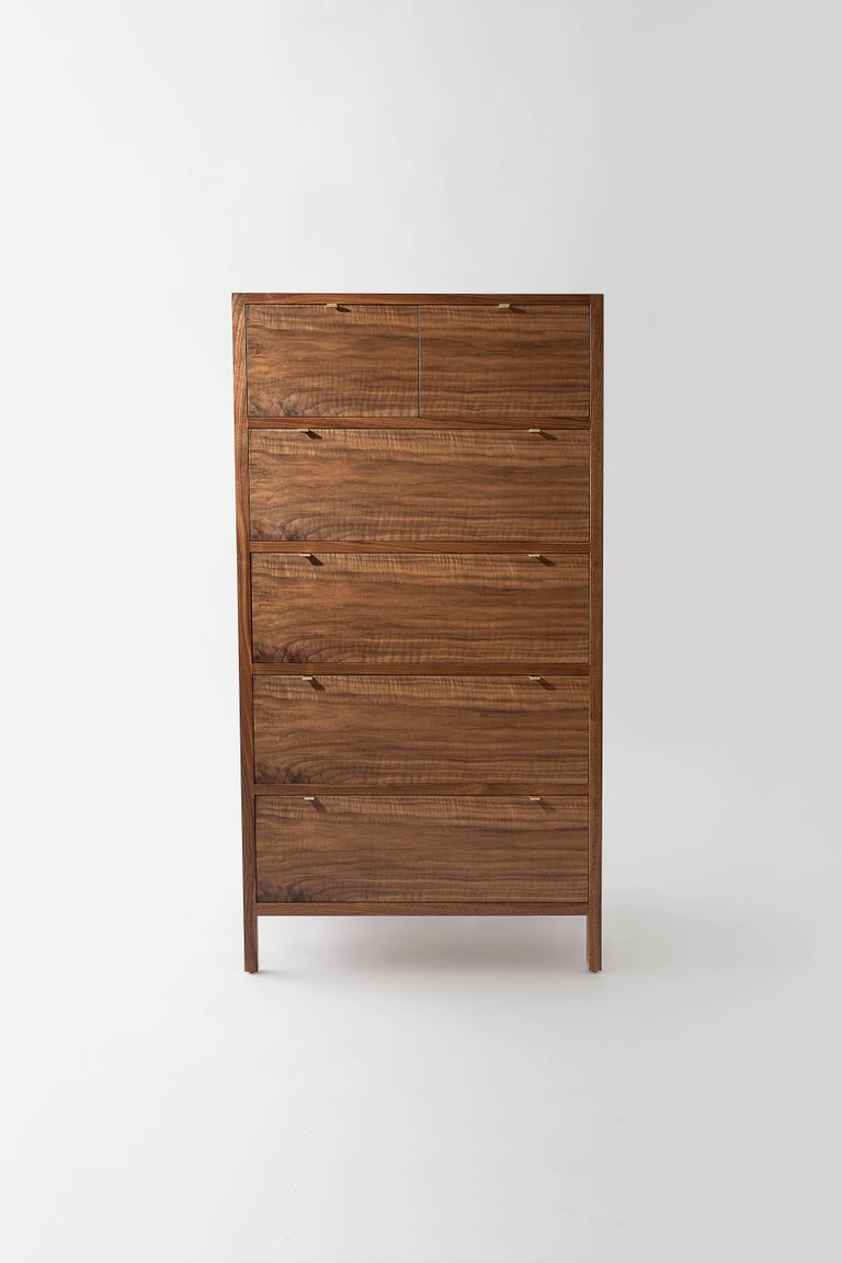 Scandinavian Modern Laska Dresser, Figured Walnut, Six Drawers, Brass Pulls, Customizable For Sale