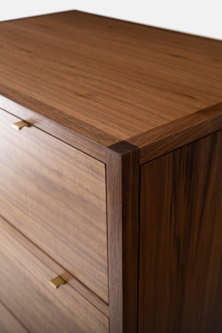 American Laska Dresser, Figured Walnut, Six Drawers, Brass Pulls, Customizable For Sale