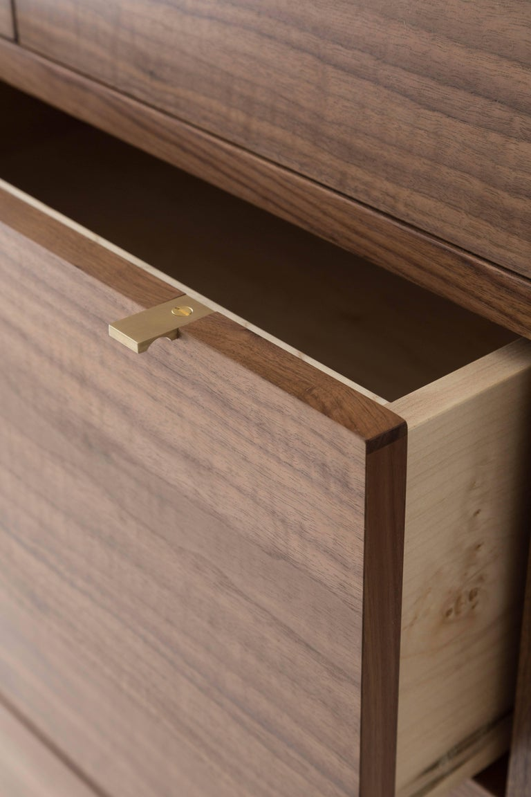 Hand-Crafted Laska Dresser, Figured Walnut, Six Drawers, Brass Pulls, Customizable For Sale