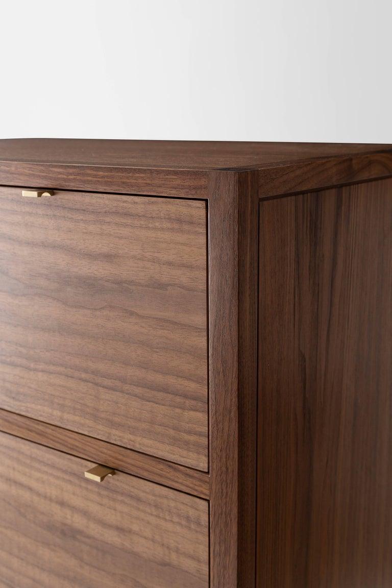 Laska Dresser, Figured Walnut, Six Drawers, Brass Pulls, Customizable In New Condition For Sale In Louisville, KY