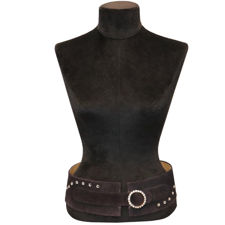Lasso Black Suede Rhinestone Belt. From 1990s in fair condition   Measurements: Length - 32.5 inches Width - 3.25 inches