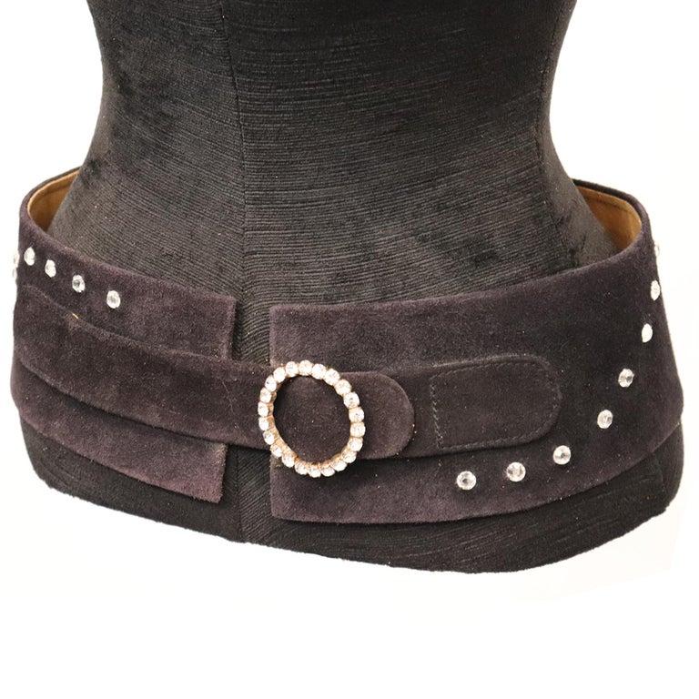 Women's Lasso Black Suede Rhinestone Belt  For Sale