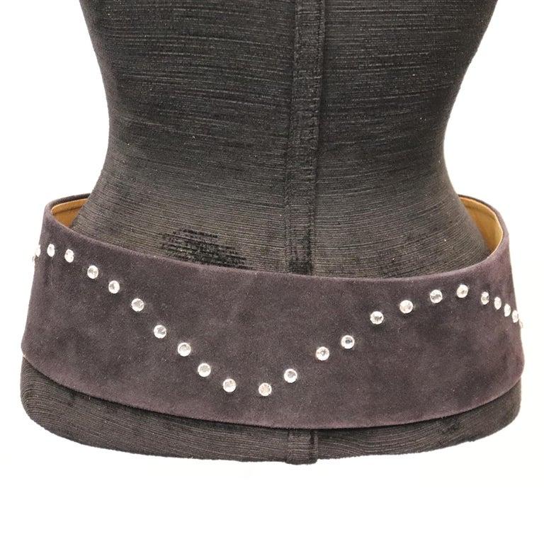 Lasso Black Suede Rhinestone Belt  For Sale 1
