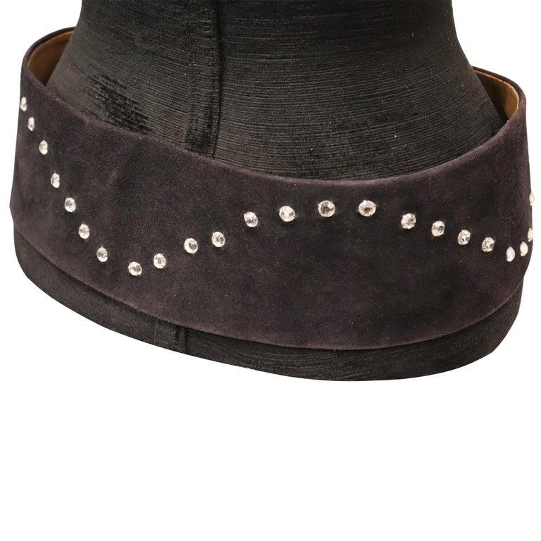 Lasso Black Suede Rhinestone Belt  For Sale 2