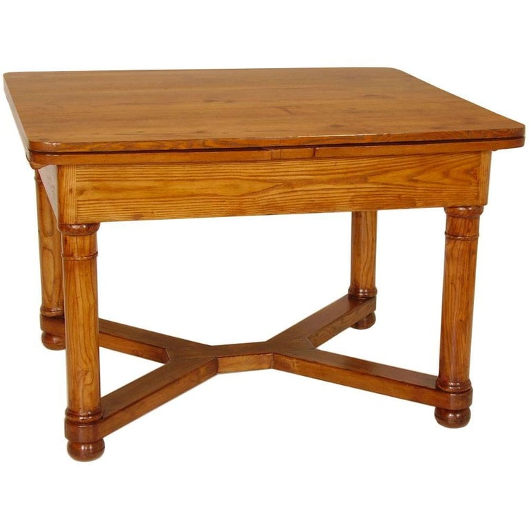 Last 19th century Austrian Biedermeier Tyrolean extending table, in chestnut restored and polished to wax  Measures cm: H 80, W 120/227, D 98.
