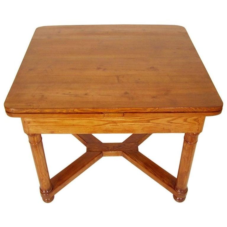 Turned Last 19th Century Austrian Biedermeier Tyrolean Extending Table For Sale