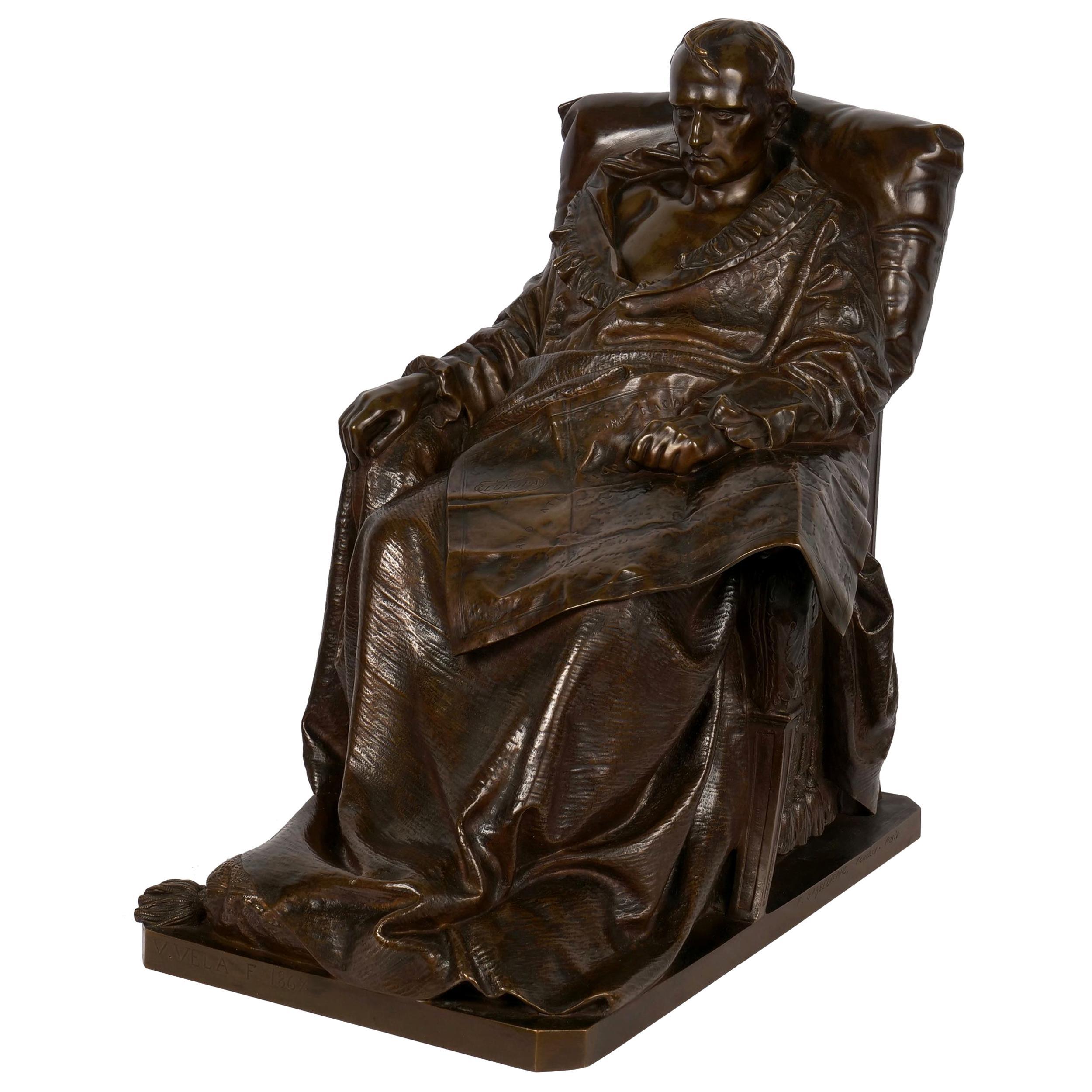 """Last Days of Napoleon"" French Antique Bronze Sculpture by Vincenzo Vela"