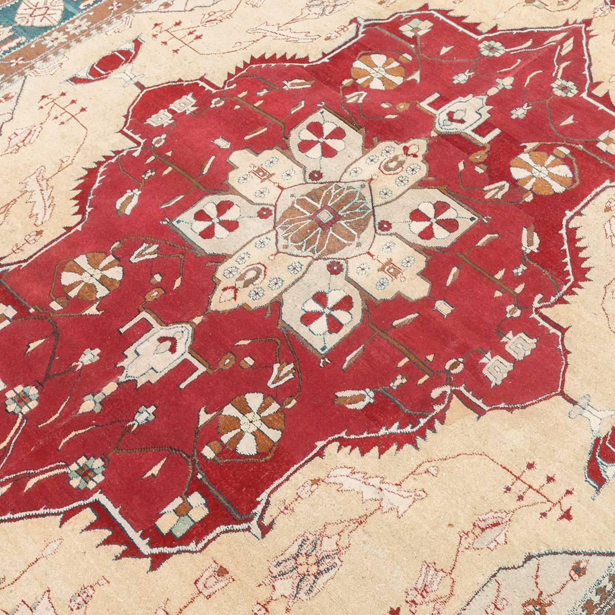 Red  Turquoise And Beige Over Wool Agra Rug In
