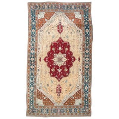 Last Quarter of 19th Century Red, Turquoise and Beige over Wool Agra Rug