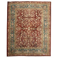 Last Quarter of the 19th Century, Red and Green and Beige over Wool Agra Rug