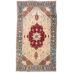 Last Quarter of the 19th Century Red, Turquoise and Beige Over Wool Agra Rug
