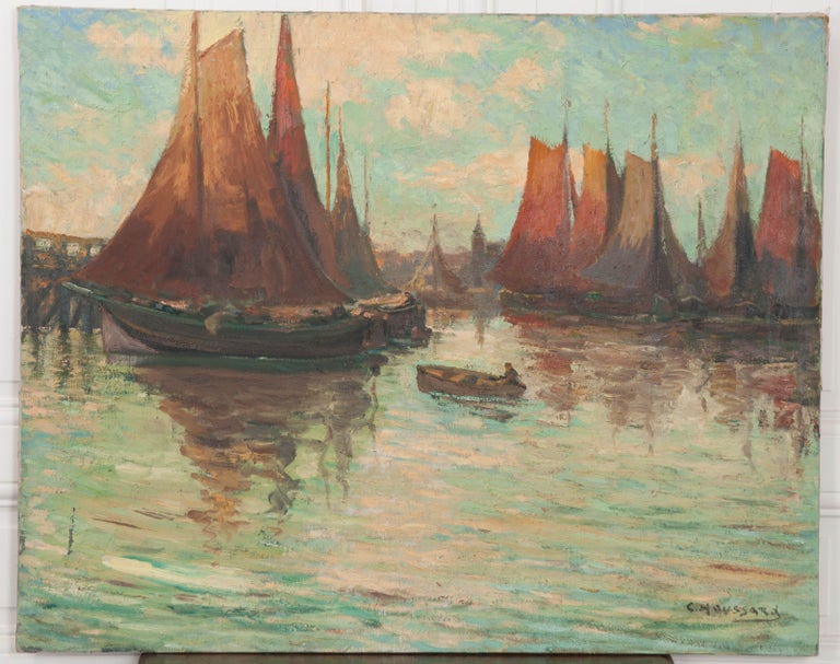"""Charles-Claude Houssard was a Belgian landscape and architectural painter active from the 1870s-1940s. He took study trips to Italy, England, France and The Netherlands to master his craft. This work, entitled """"Derniers Rayons"""" or """"Last Rays"""" in"""
