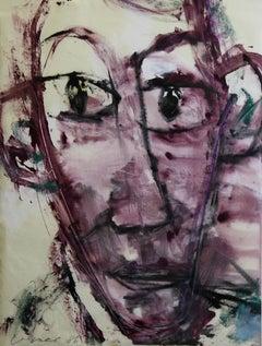 Laszlo Lakner, Hungarian, 1986 Works on Paper, Abstract Portrait. Modern Art