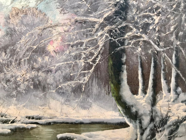 20th Century Painting of a Hungarian Winter Wonderland Forest River Snow Scene For Sale 7